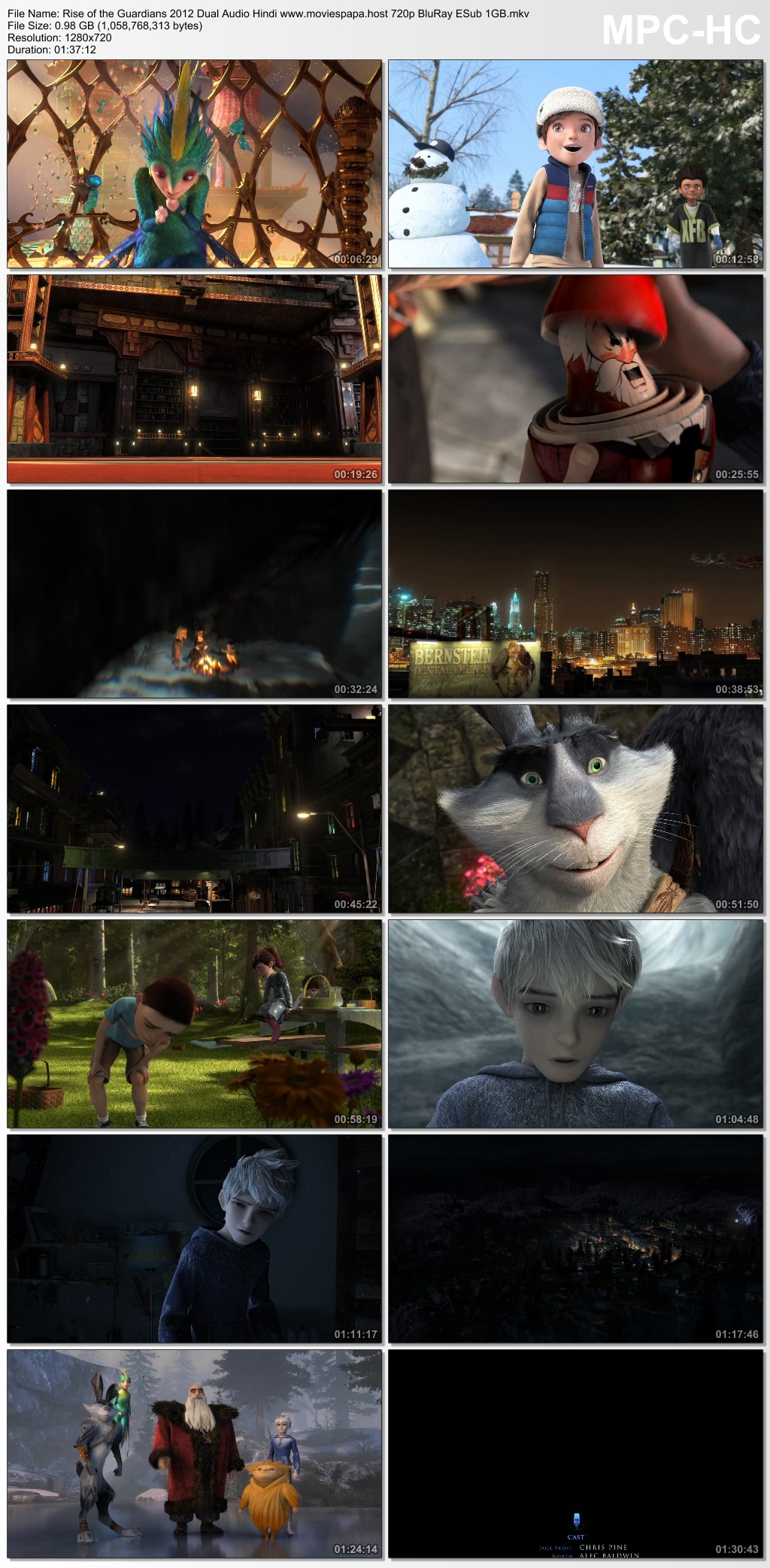 Rise of the Guardians 2012 Dual Audio Hindi ORG 720p BluRay 1GB Download