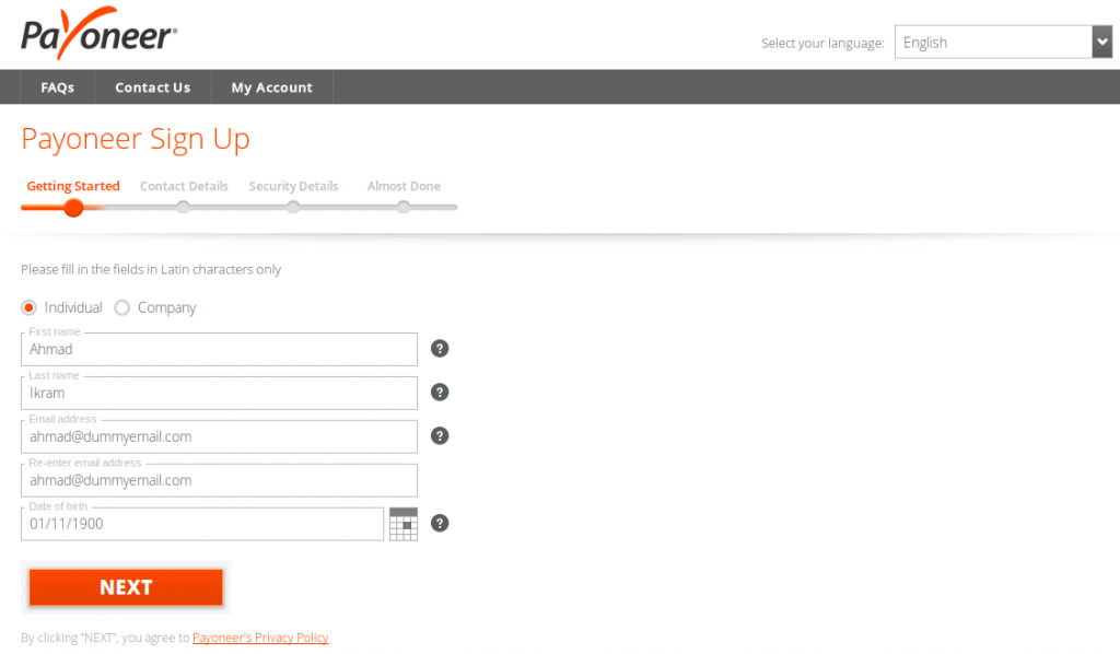 payoneer sign up form