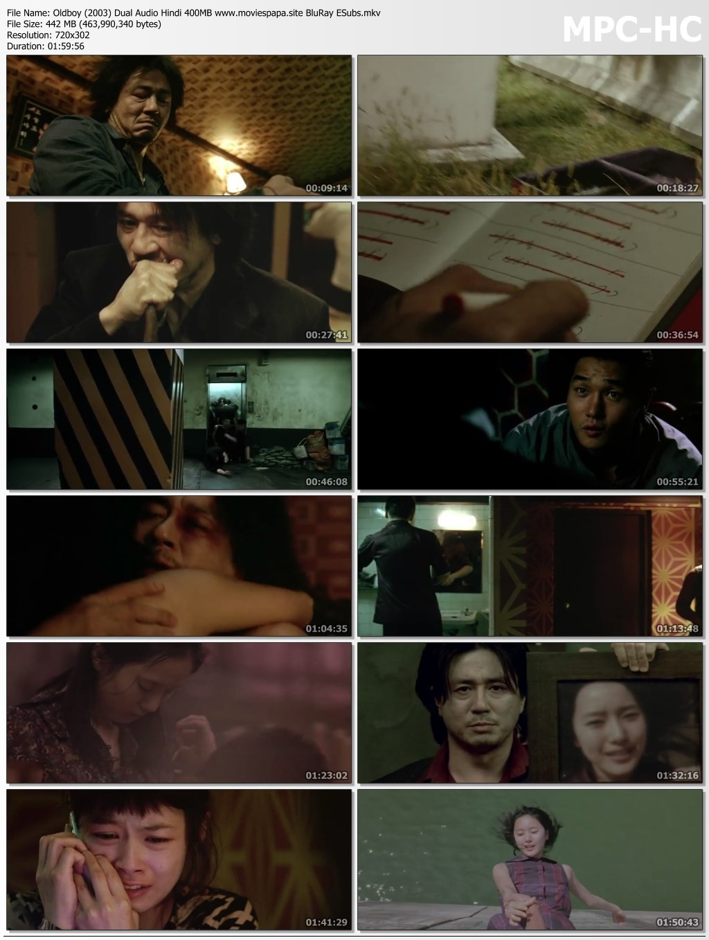 Oldboy (2003) Dual Audio Hindi 400MB BluRay ESubs Download